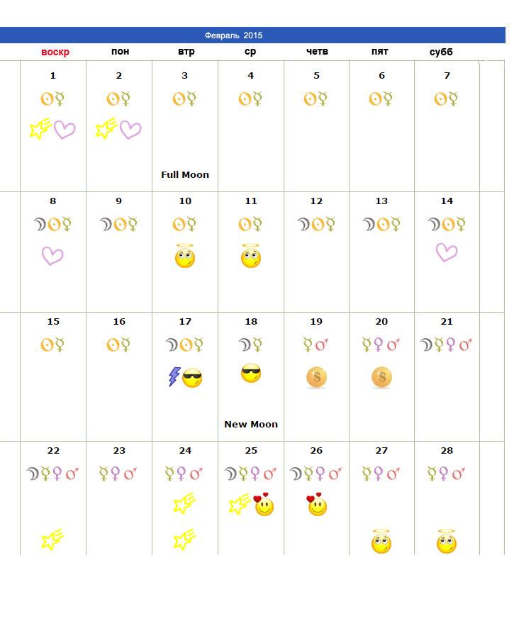 Календарь удачных дней Водолей на февраль 2015